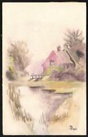 1913 ORIGINAL TRANQUIL WATERCOLOUR PAINTING of COTTAGE & STREAM POSTCARD UNUSED