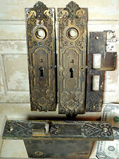 1880s Corbin Bronze Door Knob Plate BACKPLATES Lock Antique vtg Post Office LION