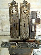1880s Corbin Bronze Door Knob Plate BACKPLATES Lock Antique vtg Post Office LION