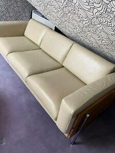 Habitat Robin Day Cream Leather Sofa + Armchair
