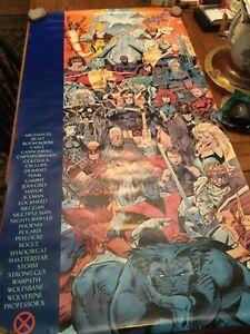 X-MEN MARVEL COMICS 5 X 2.5 FOOT POSTER 1992 ROSTER JIM LEE Scott Williams