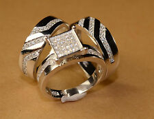 White Gold Finish Engagement Ring And Multi Wedding Bands Set His Hers L 9 M 12
