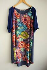 Tiffany Treloar Floral & Check Front Short Sleeve Dress sz 4 ( L / 14)