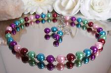 2er SET Glas Perlenkette / Collier gänzend bunt + Ohrhänger