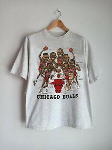 Vintage 90s Chicago Bulls Caricature Slam Dunk T Shirt Vintage Men Gift Tee