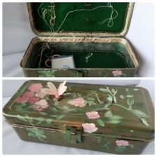 Sewing Box Painted Floral Dragonfly Case Kit + Free Scissors Needle Nest Keeper