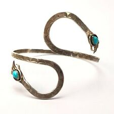 Vintage Native American sterling silver Turquoise bear paw bypass arm band cuff