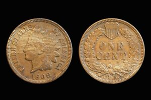 1908 S Indian Head Cent. Extremely Fine details.