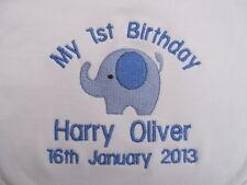 Personalised Baby Bib - Embroidered Baby's 1st Birthday  - Elephant - Gift - BOY