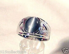 925 Sterling Silver 12x10 mm Gray Blue Semi-Precious Tiger Eye Men Ring Size 9