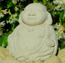 SMALL MEDITATING HOTEI Solid Stone Buddha Statue Home Garden Office or Gift -C