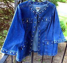 AMI Medium Wash Denim Jeans Studded Jacket Top 1X NWOT