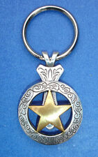 Western Cowboy Jewelry Antique Gold Engraved Star Concho Key Ring Kit