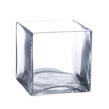 "12 Pack 4 Inch Square Glass Vases - Cube Vase 4"" 4x4x4 Centerpiece Candle Holder"