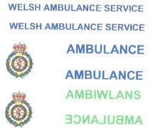 * 8 X WELSH AMBULANCE SERVICE DECAL FOR CODE 3 models lledo model ambulance etc