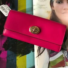 Coach 53663 Cerise Pink Smooth Leather Turnlock Slim Envelope Wallet Clutch NWT