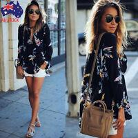Womens V Neck Floral Print Loose T Shirt Ladies Long Sleeve Chiffon Blouse Tops