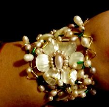 HAND MADE REAL PinkIsh And White PEARL BRIDAL, Bracelet