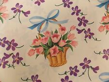 Vintage Flower Baskets Pink 1 Sheet Gift Wrapping Paper