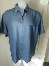 Campia Moda Solid Print Shirt Marine Rayon Short Sleeves XXL