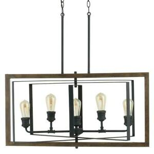 Palermo Grove 31.88 in. 5-Light Black Gilded Iron Linear Chandelier by HDC