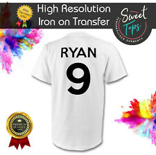 CUSTOM NAME & NUMBER IRON ON T SHIRT TRANSFER | TEAM FOOTBALL SPORTS | 100% COTT