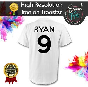 CUSTOM NAME & NUMBER IRON ON T SHIRT TRANSFER | TEAM FOOTBALL SPORTS | 100% COTT