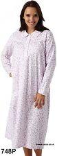 Winceyette Nightdress Warm 100 Cotton Long Ladies Flannelette Nightie 8-26 16-18 Type748 White With Pink Floral