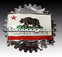 1- NEW Chrome Front Grill Badge Spanish Flag MEDALLION CALIFORNIA REPUBLIC