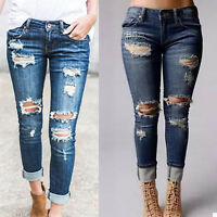 WOMENS PLUS SIZE Destroy Distressed RIPPED BLUE SKINNY DENIM JEANS PANTS 4-10 US