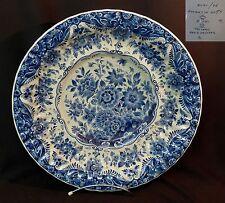 C très joli grand plat ancien 46cm3kg Royal DELFT koninklijk blanc bleu floral