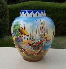 1940/50s Falcon Ware Vase - Coastal Fishing Scene, Lobster Pots, Fishermen