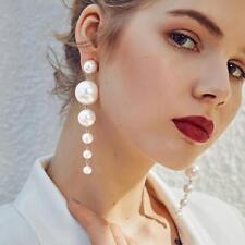 Vintage Women Big Simulated Pearl Long Tassel Statement Ear Stud Dangle Earrings