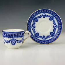 Antique Wedgwood China - Flow Blue & White Garland Decorated Cup & Saucer