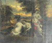 N1-020. SCENE MITOLOGICA. SKETCH. HUILE SUR BOIS. CENTURY XVIII-XIX.