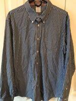 Brooks Brothers Regent Supima Cotton Mens Dress Shirt XL Blue & White Non-Iron