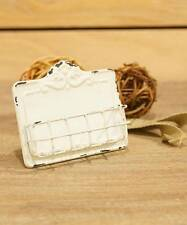 Antique White Business Card Holder - Metal Enamel Finish