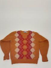 Vintage - Shetland Workshop - Orange Argyle Sweater - Size M