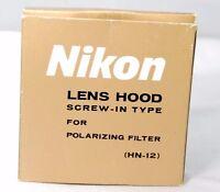 Nikon HN-12 lens hood for Polar filter Genuine screw in Boxed mint Polarizing