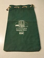 First National Bank Champaign, Illionis Canvas Bank Bag