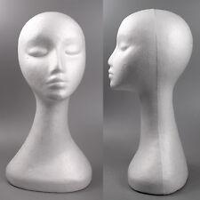 White Swan Neck Polystyrene Female Mannequin Head Retail Display Wig Hat 50cm