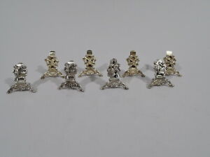 Rococo Place Card Holders - Set 8 Court & Country Menu - German Sterling Silver