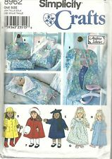 "SIMPLICITY 8962 PATTERNS FOR 18"" DOLL CLOTHES TOTE GARMENT & SLEEPING BAG NEW!"