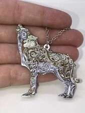 """Wolf Howling Large Enamel Double-sided with Tibetan Silver 18"""" Necklace D-1128"""