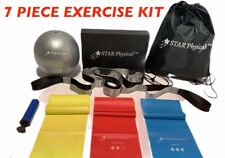HOME EXERCISE KIT (Resistance Bands, Mini Exercise Ball w/ Pump, Stretch Strap)