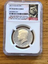 "2017S Kennedy Silver half dollar NGC PF70 Ultra Cameo ""Ask Not"" Label"