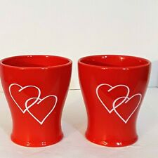 Set Of 2 Edible Arrangements Red Vase With White Hearts Ceramic Collectible