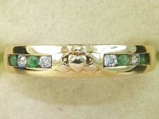 9k Yellow Gold Emerald & Diamond Band Fine Claddagh Ring-Size 7.5