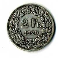 Moneda Suiza 1920 B 2 francos suizos plata .835 silver coin Helvetia