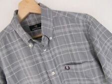 RP1163 FRED PERRY SHIRT TOP SHORT SLEEVE GREY CHECK ORIGINAL PREMIUM size S